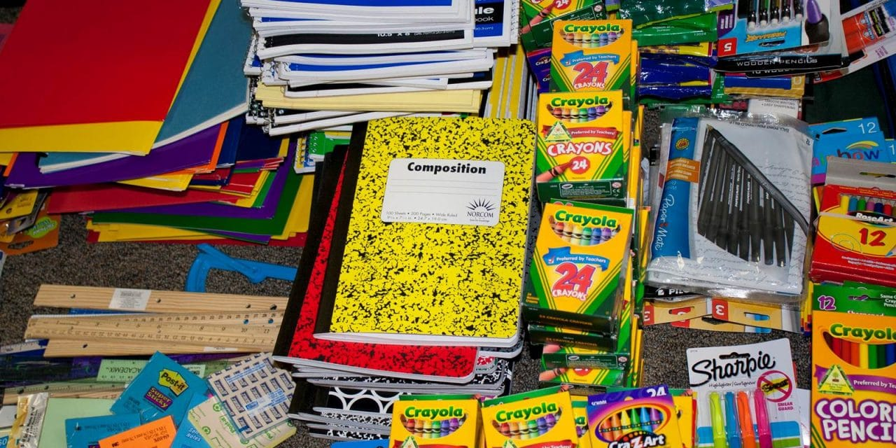 A pile of school supplies
